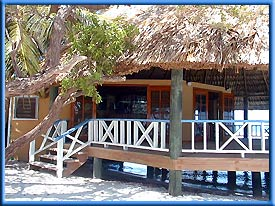Ocean side restaurant at Coco Plum Island Resort on Coco Plum Caye