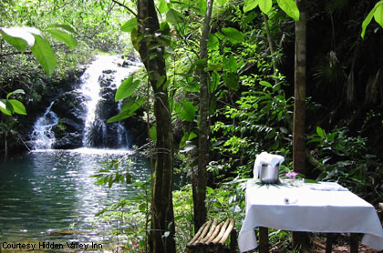 private waterfall for the day at Hidden Valley Inn, Belize