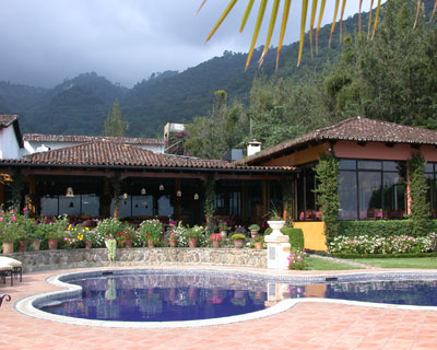 garden and pool, hotel Atitlan, Guatemala