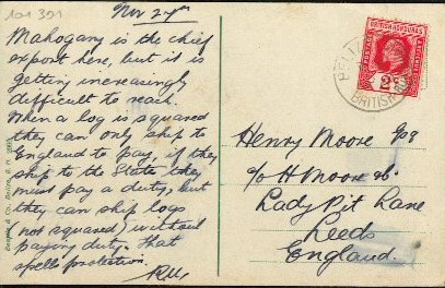 wording on back of old postcard showing Belize City