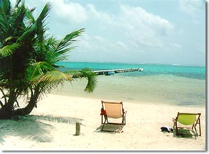 fabulous beach overlooking the Belize barrier reef at mata chica beach resort, san pedro, ambergris caye, belize